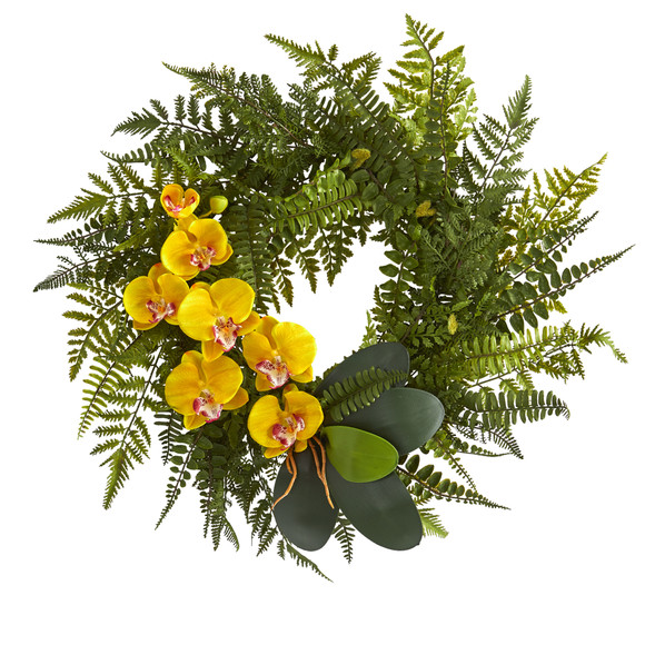 23 Mixed Greens and Phalaenopsis Orchid Artificial Wreath - SKU #4414