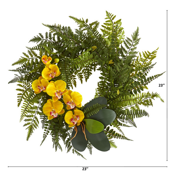 23 Mixed Greens and Phalaenopsis Orchid Artificial Wreath - SKU #4414 - 1