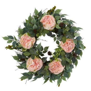 23 Mixed Greens and Peony Artificial Wreath - SKU #4415