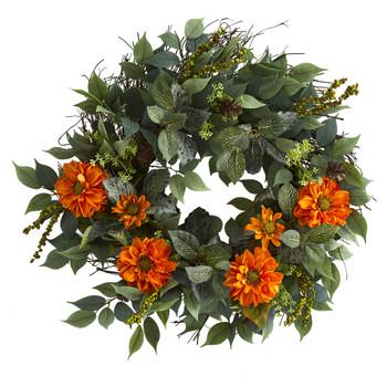 23 Mixed Greens and Zinnia Artificial Wreath - SKU #4416-OG