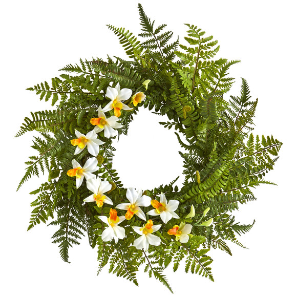 24 Mixed Fern and Dendrobium Orchid Artificial Wreath - SKU #4417 - 4