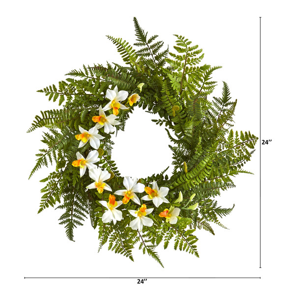 24 Mixed Fern and Dendrobium Orchid Artificial Wreath - SKU #4417 - 5