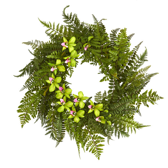 24 Mixed Fern and Dendrobium Orchid Artificial Wreath - SKU #4417 - 6