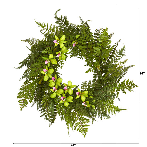 24 Mixed Fern and Dendrobium Orchid Artificial Wreath - SKU #4417 - 7