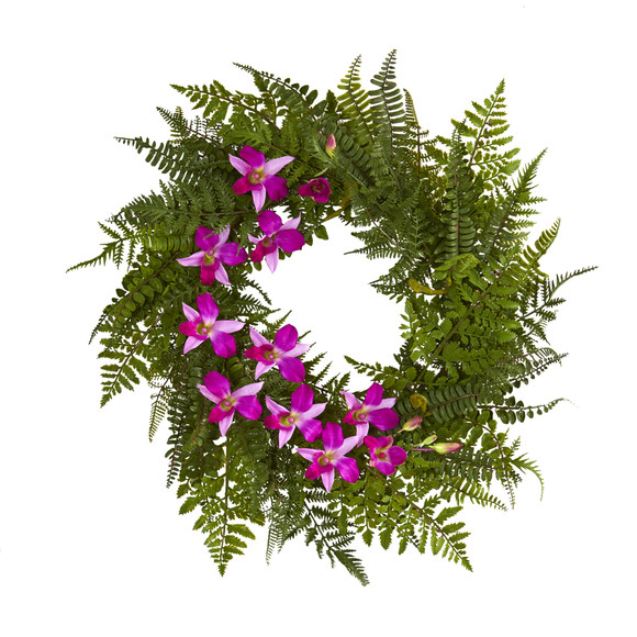 24 Mixed Fern and Dendrobium Orchid Artificial Wreath - SKU #4417 - 2