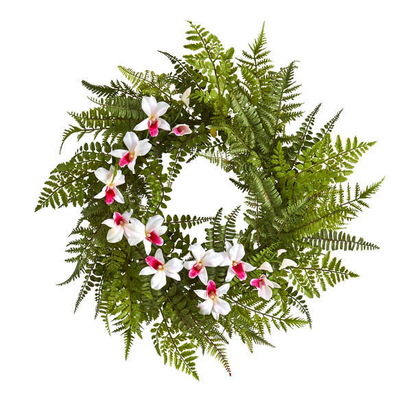 24 Mixed Fern and Dendrobium Orchid Artificial Wreath - SKU #4417