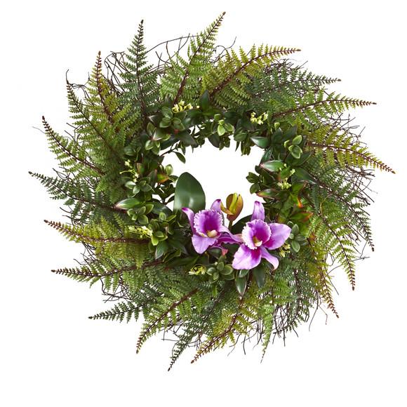 23 Assorted Fern and Cattleya Orchid Artificial Wreath - SKU #4418 - 2
