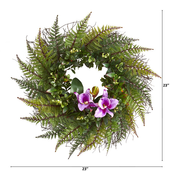 23 Assorted Fern and Cattleya Orchid Artificial Wreath - SKU #4418 - 3
