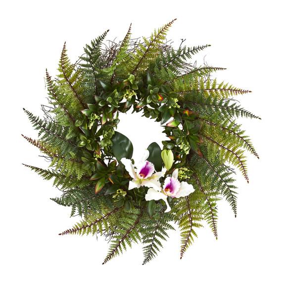 23 Assorted Fern and Cattleya Orchid Artificial Wreath - SKU #4418