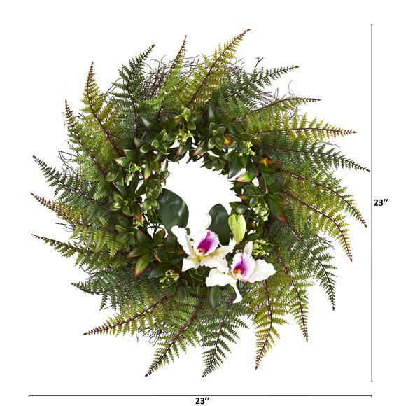 23 Assorted Fern and Cattleya Orchid Artificial Wreath - SKU #4418 - 1