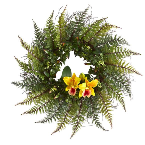 23 Assorted Fern and Cattleya Orchid Artificial Wreath - SKU #4418 - 4