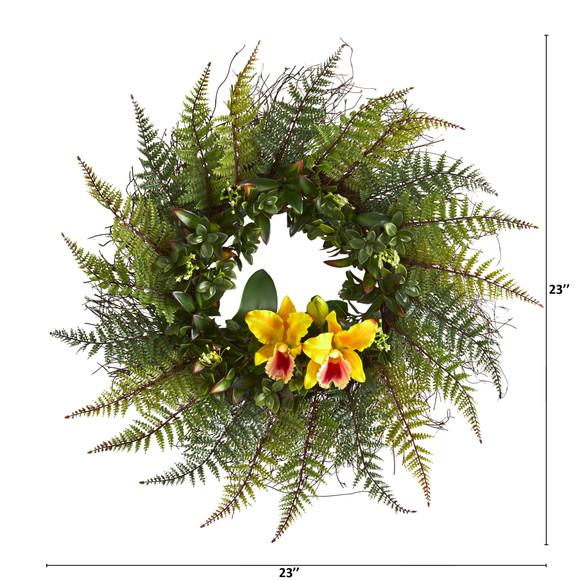 23 Assorted Fern and Cattleya Orchid Artificial Wreath - SKU #4418 - 5