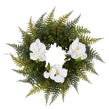 23 Assorted Fern and Phalaenopsis Orchid Artificial Wreath - SKU #4419
