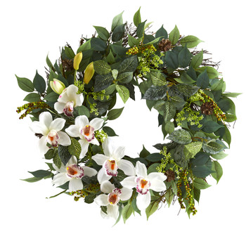 23 Mixed Greens and Cymbidium Orchid Artificial Wreath - SKU #4420