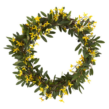 20 Olive and Forsythia Artificial Wreath - SKU #4421