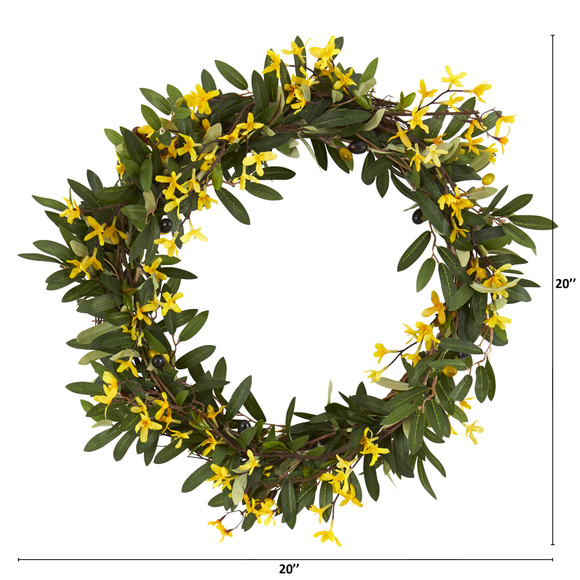 20 Olive and Forsythia Artificial Wreath - SKU #4421 - 1
