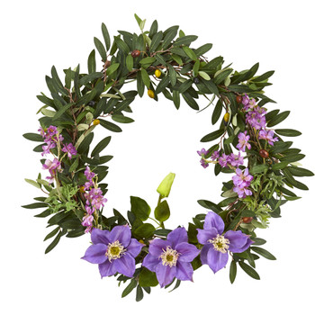 20 Olive Anemone and Dancing Daisy Artificial Wreath - SKU #4422