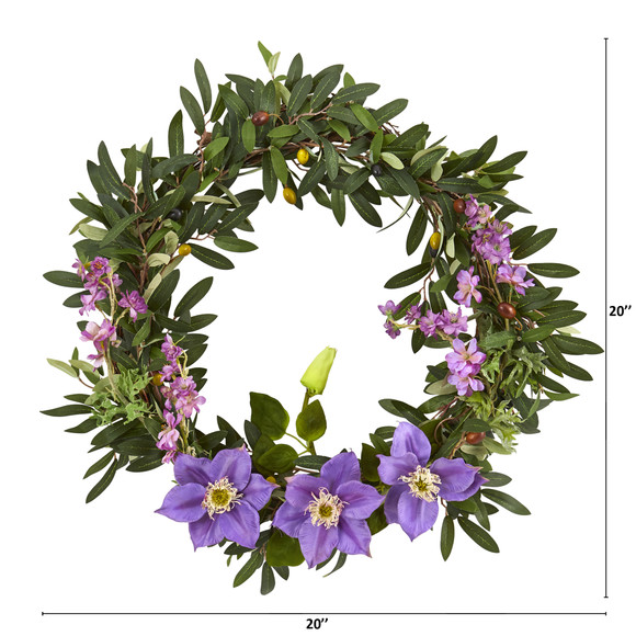 20 Olive Anemone and Dancing Daisy Artificial Wreath - SKU #4422 - 1