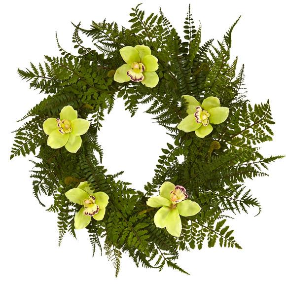 24 Mixed Fern and Cymbidium Orchid Artificial Wreath - SKU #4423 - 4