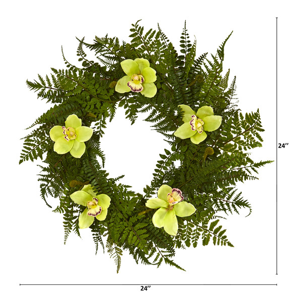 24 Mixed Fern and Cymbidium Orchid Artificial Wreath - SKU #4423 - 5