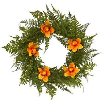 24 Mixed Fern and Cymbidium Orchid Artificial Wreath - SKU #4423-GR