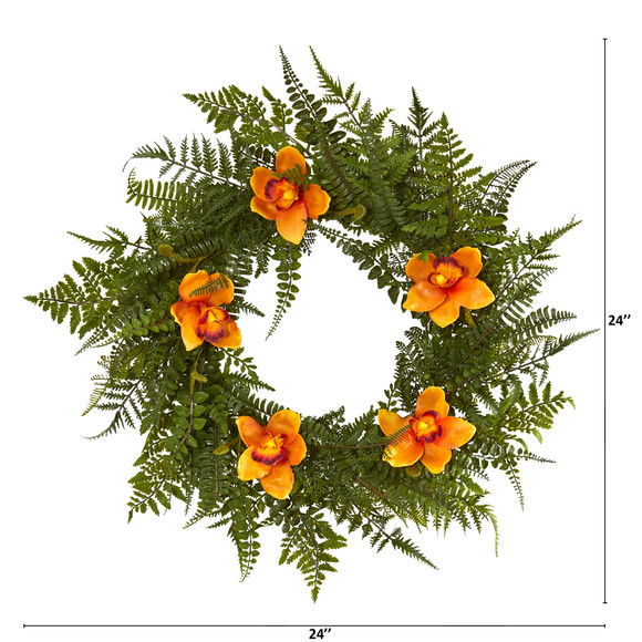 24 Mixed Fern and Cymbidium Orchid Artificial Wreath - SKU #4423 - 3
