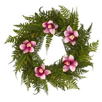 24 Mixed Fern and Cymbidium Orchid Artificial Wreath - SKU #4423
