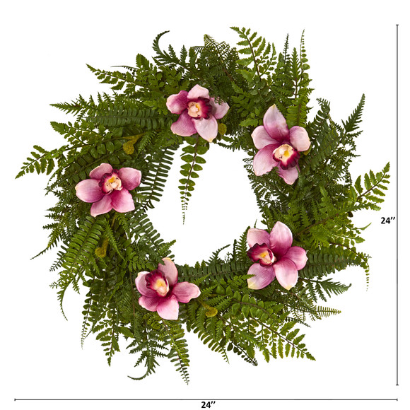 24 Mixed Fern and Cymbidium Orchid Artificial Wreath - SKU #4423 - 1