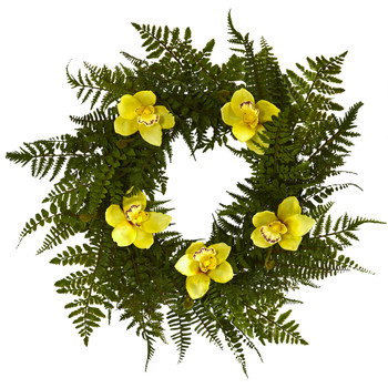 24 Mixed Fern and Cymbidium Orchid Artificial Wreath - SKU #4423