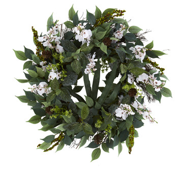 23 Mixed Greens and Dancing Lady Orchid Artificial Wreath - SKU #4424