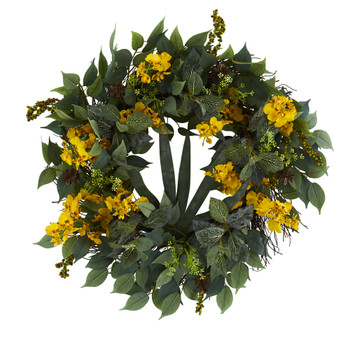23 Mixed Greens and Dancing Lady Orchid Artificial Wreath - SKU #4424-YL