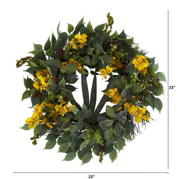 23 Mixed Greens and Dancing Lady Orchid Artificial Wreath - SKU #4424-YL - 1