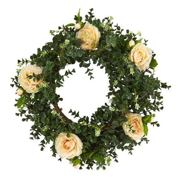 18 Eucalyptus and Camellia Double Ring Artificial Wreath with Twig Base - SKU #4425 - 2