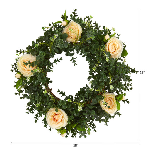 18 Eucalyptus and Camellia Double Ring Artificial Wreath with Twig Base - SKU #4425 - 3