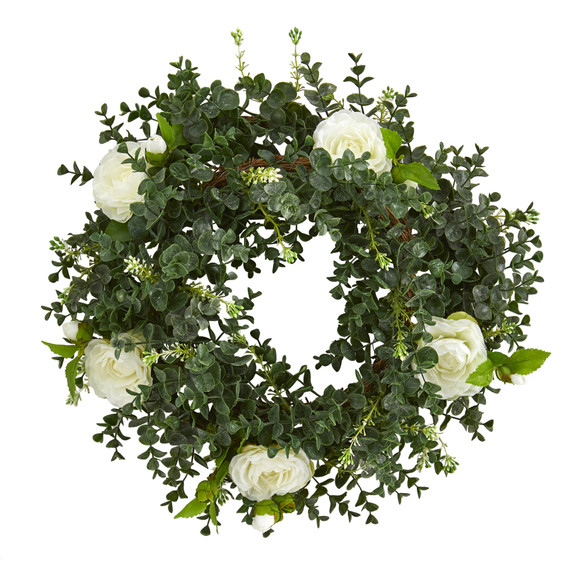 18 Eucalyptus and Camellia Double Ring Artificial Wreath with Twig Base - SKU #4425