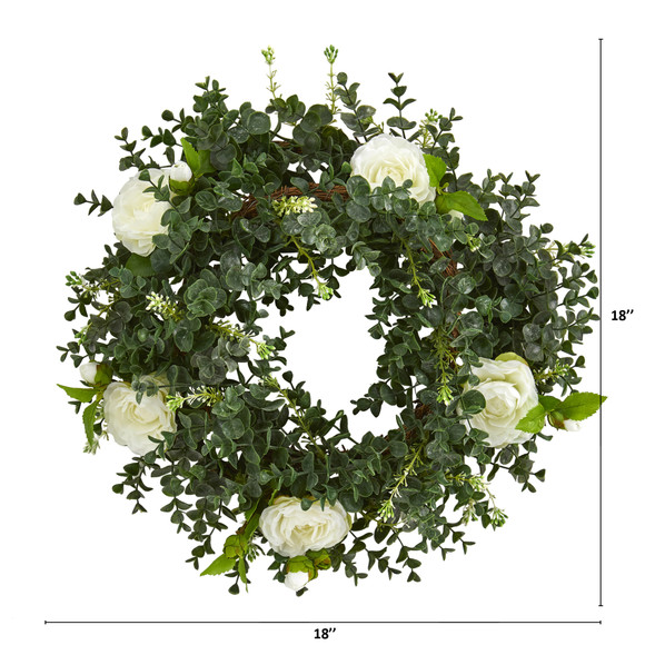 18 Eucalyptus and Camellia Double Ring Artificial Wreath with Twig Base - SKU #4425 - 1