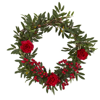 20 Olive Berries and Rose Artificial Wreath - SKU #4427