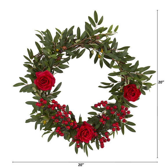 20 Olive Berries and Rose Artificial Wreath - SKU #4427 - 1