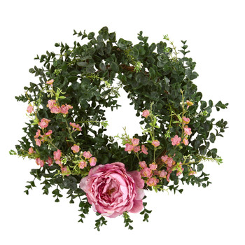 18 Eucalyptus Cherry Blossom and Peony Double Ring Artificial Wreath With Twig Base - SKU #4428-PK