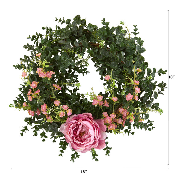 18 Eucalyptus Cherry Blossom and Peony Double Ring Artificial Wreath With Twig Base - SKU #4428-PK - 1