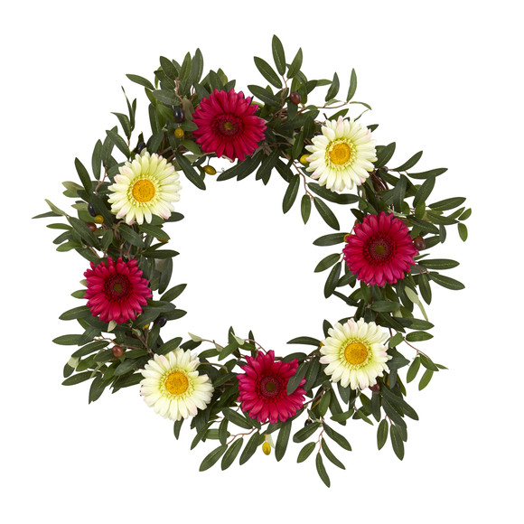 20 Olive and Gerber Daisy Artificial Wreath - SKU #4429