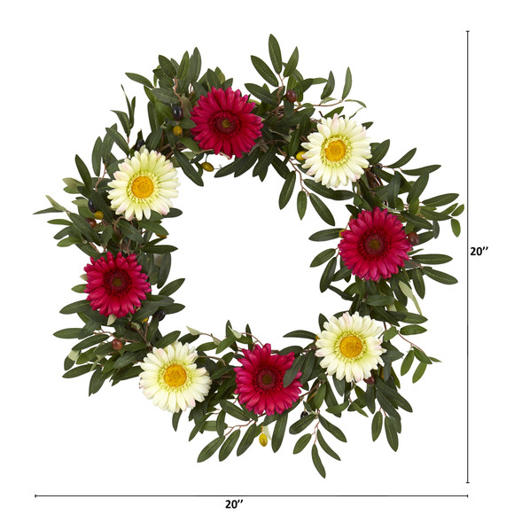 20 Olive and Gerber Daisy Artificial Wreath - SKU #4429 - 1