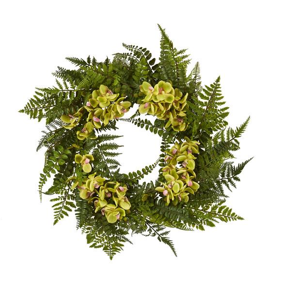 24 Mixed Fern and Phalaenopsis Orchid Artificial Wreath - SKU #4430 - 4