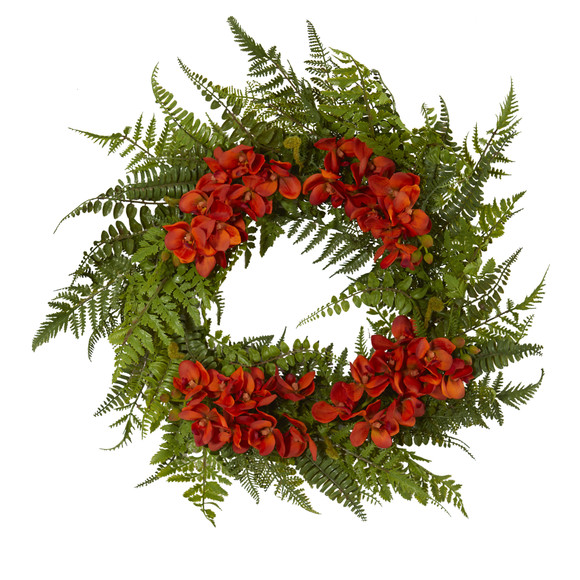 24 Mixed Fern and Phalaenopsis Orchid Artificial Wreath - SKU #4430 - 2