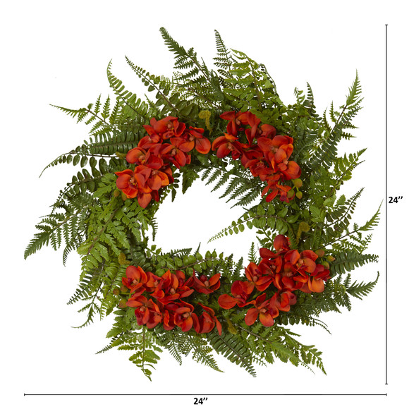 24 Mixed Fern and Phalaenopsis Orchid Artificial Wreath - SKU #4430 - 3