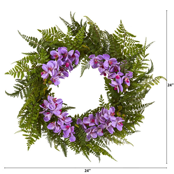 24 Mixed Fern and Phalaenopsis Orchid Artificial Wreath - SKU #4430 - 1