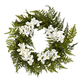24 Mixed Fern and Phalaenopsis Orchid Artificial Wreath - SKU #4430