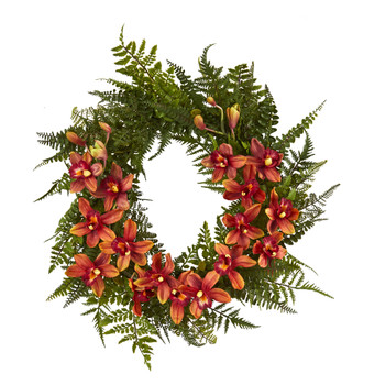 24 Mixed Fern and Cymbidium Orchid Artificial Wreath - SKU #4431-BG