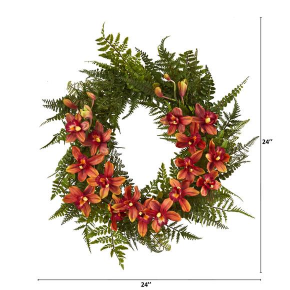 24 Mixed Fern and Cymbidium Orchid Artificial Wreath - SKU #4431 - 5