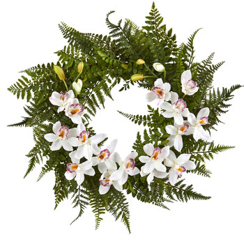 24 Mixed Fern and Cymbidium Orchid Artificial Wreath - SKU #4431